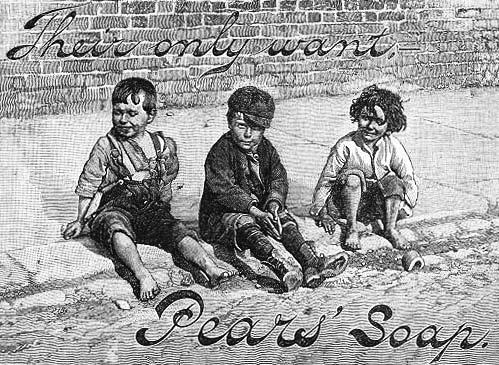 The social norms of skin cleanliness were of great importance in Pears soap advertisements. The Dirty Boy ads connected dirtiness to improper behaviour.