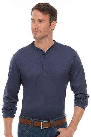 Long-Sleeve Henley Banded