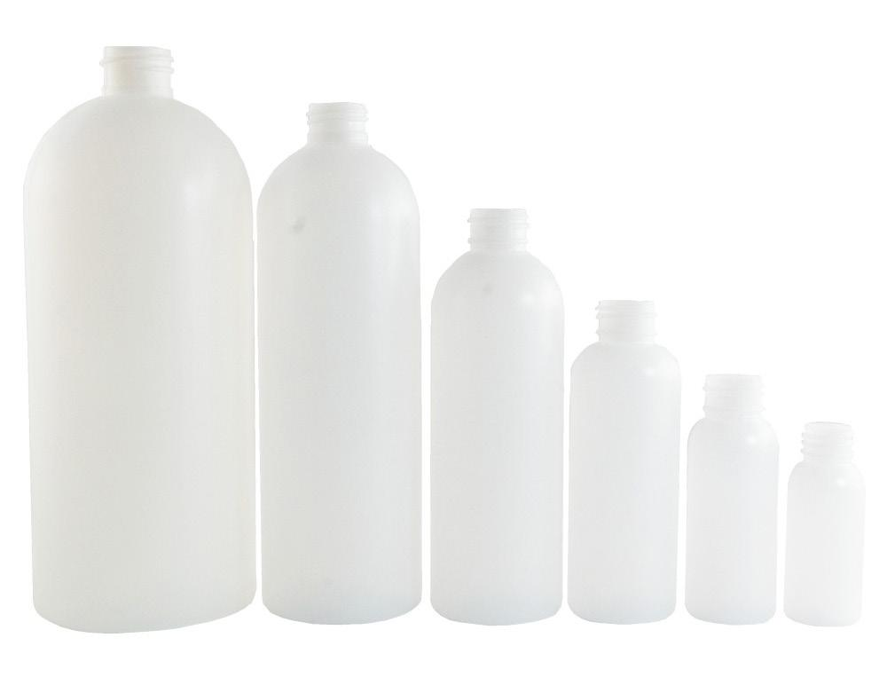 Bottles BOTTLE NATURAL (MILANO 1) CNT-MILO-01 Description: Cosmo round (rounded shoulders), semi-transparent HDPE bottle. Choose from 2 different caps: screw cap or disk dispenser.