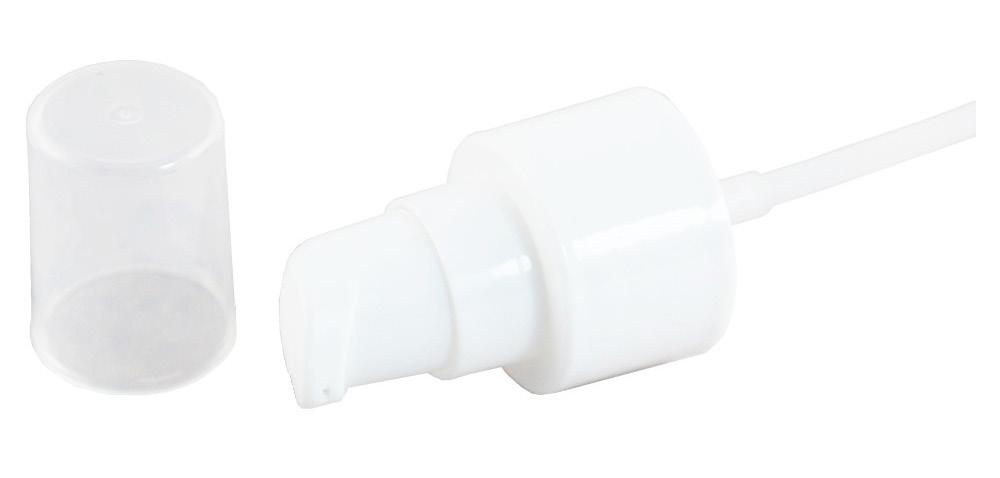 PUMP FOR LOTIONS, WHITE (MERA 6) CNT-TRPU-06 Caps & Pumps Description: White cosmetic treatment pump. Clear polypropylene cap. Small size (20/410), Large size: (24/410). Use: For all kinds of lotions.