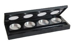 LIP/EYE SHADOW PALETTE (LIMA 3) CNT-LIMA-03 Description: Black, square palette made of polystyrene, 4 round compartments for colors (4 metal tins are included), 1 rectangular compartment for brush.