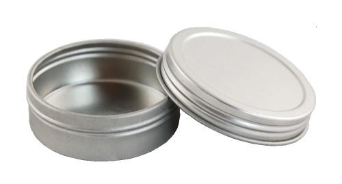 Cream Jars TIN JAR FLAT - 1OZ (ALLO 1) CNT-ALLO-01 Description: Round single-wall tin jar with screw-on cap.. Chrome color. Sizes and measurements: Jar holds 1oz (29g), height overall with cap 0.