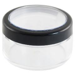 90 POWDER CONTAINER (BUCA 2) CNT-BUCA-02 Description: Transparent, round plastic jar with with separate, natural sifter; lined srew cap with clear lense and black rim.