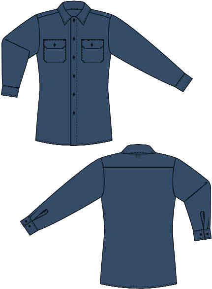 sewn-in pencil stall Topstitched collar Topstitched cuffs, with adjustable button closures Extra-long tail and roomy body for ease of movement NFPA 1975 (Station/Work Uniforms for Fire and Emergency