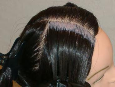 Product Application Select the quarter section that you want to begin with Using the rat tail of the applicator brush or the tip of the applicator bottle, part the hair into 1/2 inch partings Apply