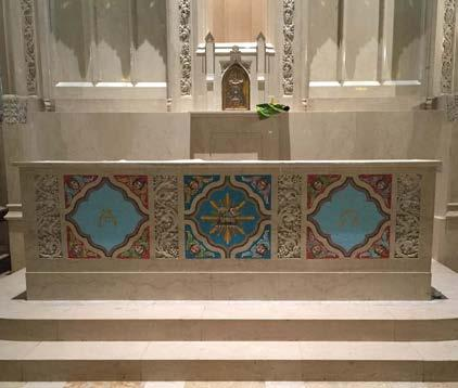 Altar of Sacrifice featuring vibrant mosaic
