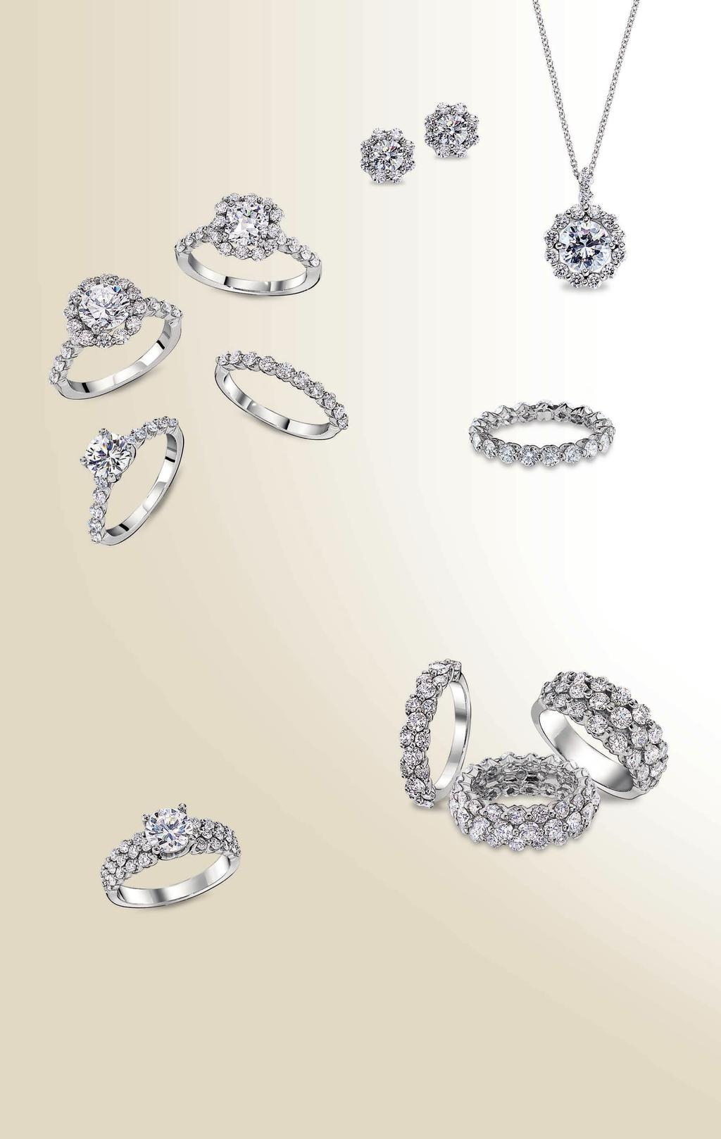 G A H K I J A. Royal Prong cushion halo engagement ring*, $3,350. Royal Prong round halo engagement ring*, $4,080. Royal Prong engagement ring*, $2,690. Royal Prong diamond band, $2,360.