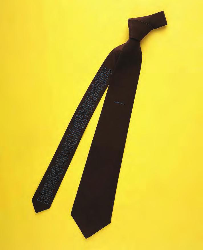 SOPHIE CALLE The Tie, 1993 For Parkett 36 Pure silk crêpe-de-chine man s tie, printed with an autobiographical