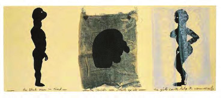 MARLENE DUMAS The Black Man, the Jew, and the Girl, 1993 For Parkett 38 Triptych printed by Marcel Kalksma, Amsterdam, in three processes on 250g/m 2 Arches: blockprint in one color, two transfer