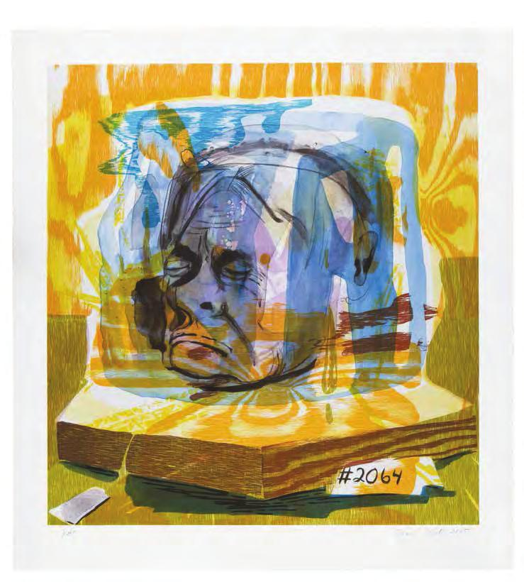 DANA SCHUTZ Untitled (Head of Timothy Leary), 2005 For Parkett 75 11-color lithograph with wood printing elements on Rives cover white 350g/m 2, paper size: 28 1 /8