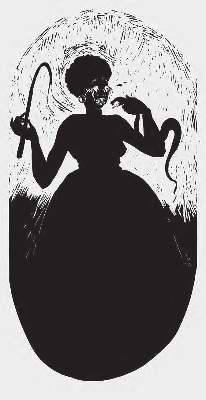 KARA WALKER Boo-hoo, 2000 For Parkett 59 Linocut on Arches Cover White, 40 x 20 1 /2 (100,8 x 52,4 cm),