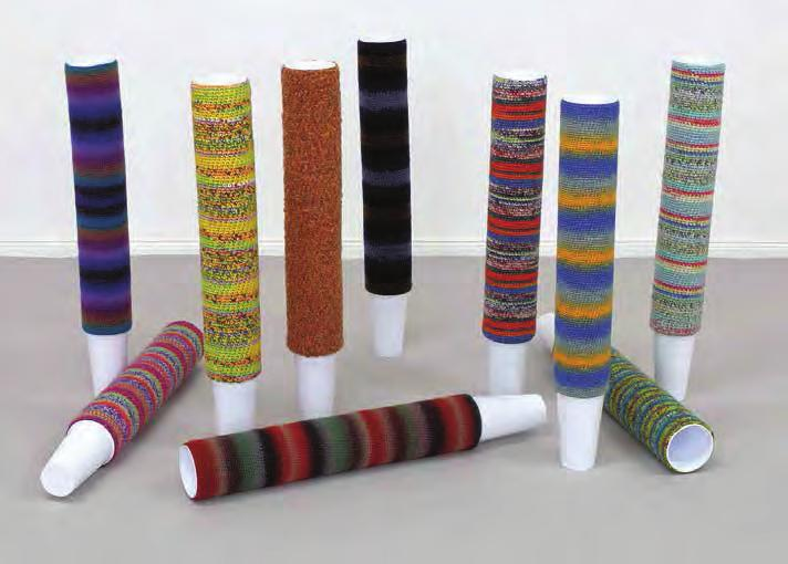 HAEGUE YANG Cup Cosies, 2011 For Parkett 89 Knitting yarn in varying colors and patterns, each unique, 100 plastic cups,