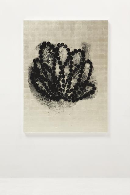 Black Lotus (#1), 2015, Ink on white gold leaf, lithographic monotype on canvas 160 x 120 x 5 cm, Photo: Antoine Cadot, Image provided by Kukje Gallery For his solo exhibition at Kukje Gallery,