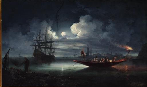 96 96 CARLO BONAVIA, ASCRIBED TO b. Naples, worked in Naples 1740-1756 Fishermen working in the light of the full moon. Unsigned. Oil on canvas. 60 x 100 cm.
