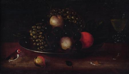 DKK 20,000 / 2,700 116 DUTCH PAINTER 17th century Still life with grapes and apples on a pewter platter,