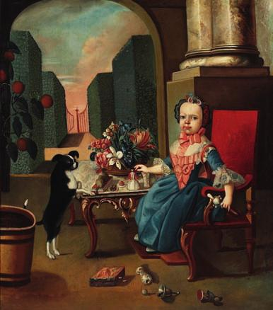 135 135 SPANISH PAINTER 18th century A little noble girl with her toys at a table and her dog in a palace colonnade. Unsigned.