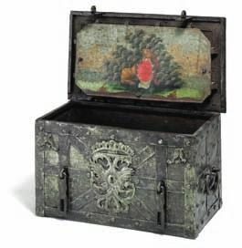 DKK 75,000 / 10,000 149 149 a German rococo iron money chest, the lid with mechanical lock containing