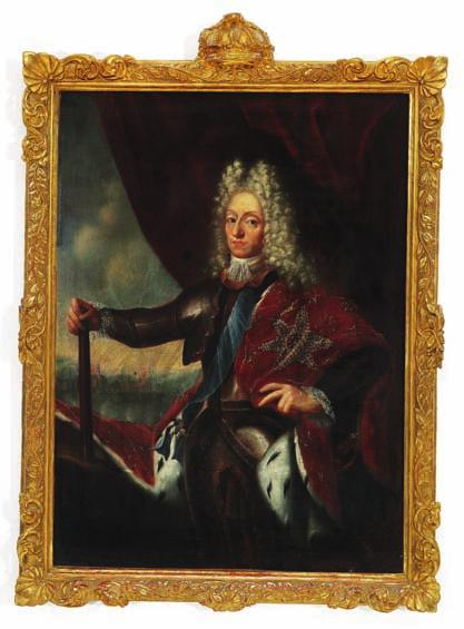1 JACOB D'AGAR style of, early 18th century 1 Portrait of King Frederik IV (1671-1730), King of Denmark and Norway.