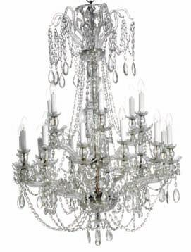 176 a glass chandelier, molded stem with cut glass and 18 curved glass arms in two levels fitted for electricity, hung with prisms in chains, the top adorned
