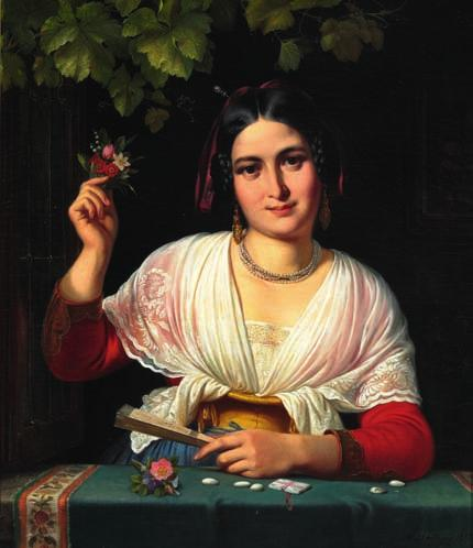 "5 5 WILHELM MARSTRAND b. Copenhagen 1810, d. s.p. 1873 ""En Albanerinde i Carnevalet"". A Roman girl in a windowsill during the carnival. Signed and dated W. Marstrand 1851. Oil on canvas. 86 x 70 cm."