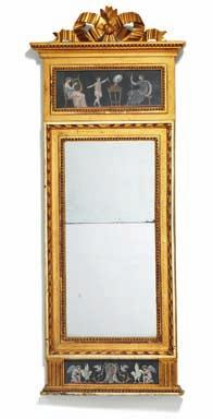 232 a late Gustavian giltwood mirror, top and bottom decorated with watercolour. sweden, c. 1800. H. 126 cm. W. 48 cm.