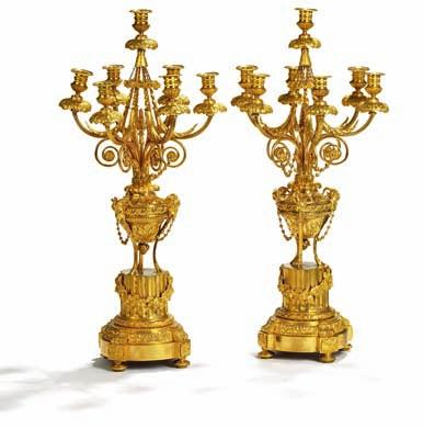 234 a pair of large louis XVi style seven-light gilt bronze candelabra. late 19th century. H.