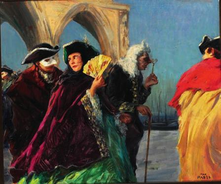 "6 6 CD MAX FRIEDRICH RABES b. Samter 1868, d. Vienna 1944 ""Carneval. Alt Venedig"". Carnival in historic Venice. Signed Max Rabes. Oil on canvas. 58 x 68 cm."