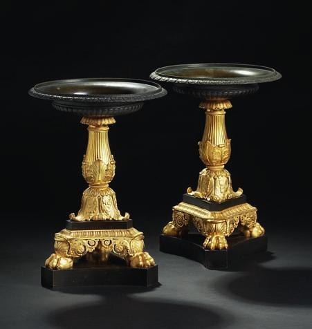 267 267 a pair of charles X gilt and patinated bronze centerpieces, each with circular bowl above tapering fluted stem with foliate mounts,