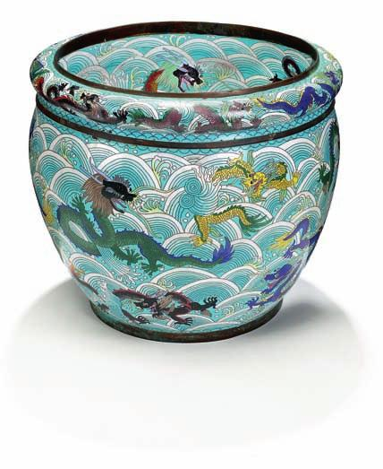 336 336 Chinese enamel/cloisonne fish basin, decorated in colours with dragons in waves. 19th century. Diam. H.