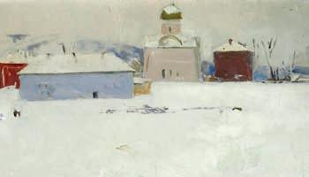 352 352 r ussian P ain ter, late 19th cen tury a russian village at winter time. unsigned. Oil on panel. 26 x 44 cm.