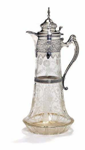 377 russian silver and glass wine jug, punched