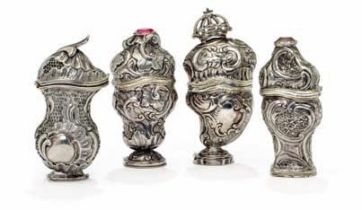 388 389 390 391 388 a danish rococo silver vinaigrette hovedvandsæg, chased with rocailles, lid with leaf ornament, base with balm hide, engraved with owner s initials ama.