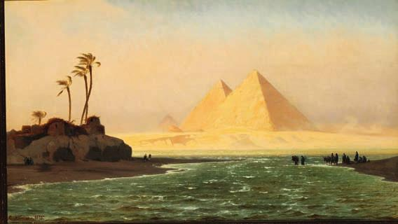 "17 17 CARL NEUMANN b. Copenhagen 1833, d. s.p. 1891 ""Pyramiderne ved Gizeh; Ørkenvinden Chamsin blæser"". The Pyramids of Giza. The desert wind Chamsin is blowing. Signed and dated C. Neumann 75."