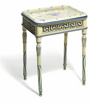 stand of white and blue painted wood, apron carved with a la Grecque border, legs with carved
