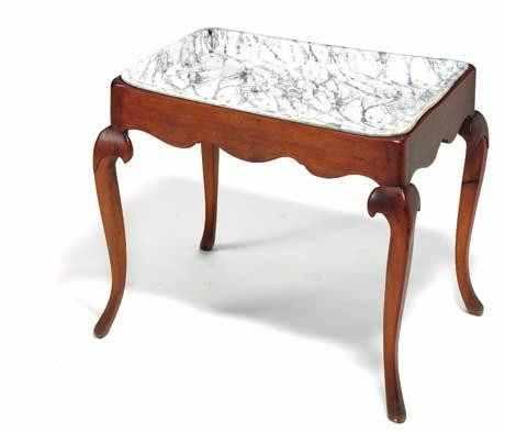 436 436 Faience tray top-table, grey-green marbled plate on white ground. rococo base of stained pine, scalloped apron on cabriole legs.