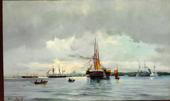 24 24 VILHELM BILLE b. Copenhagen 1864, d. s.p. 1908 The Danish and the English Royal yachts and the Russian Imperial yacht are being saluted in the Copenhagen Harbour.