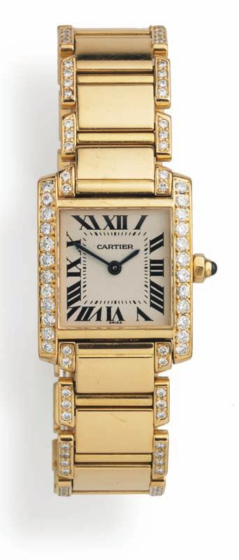666 666 c artie r ladies diamond wristwatch of 18 ct. gold. Model tank Francaise. Quartz. white dial with blued pee hands and black roman hourmarkers.