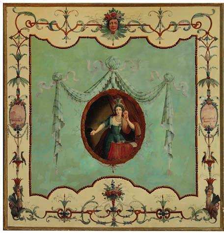 52 52 FRENCH PAINTER late 18th century A pair of large painted panels decorated with young women in medallions surrounded by branches and borders with cherub heads decorated with flowers,