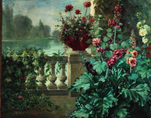 60 60 GUSTAVE LAROZE, French painter, 19th century Hollyhocks in bloom on a terrace near a lake.