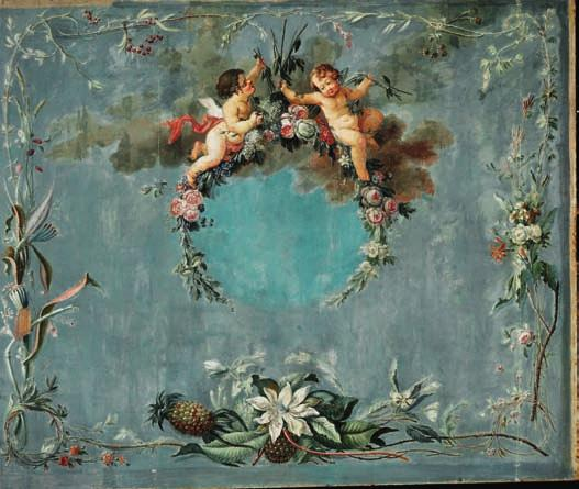 63 63 PAINTER UNKNOWN c. 1775 Large panel decorated with angels seated on flower branches, borders of flowers and fruit encircle them. Blue background. Unsigned. Oil on canvas.