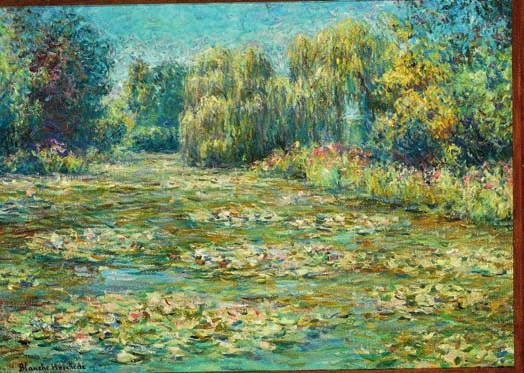 92 92 CD BLANCHE HOSCHEDÉ MONET b. Paris 1865, d. Giverny 1947 Impressionistic summer landscape with water lilies in a stream, presumably from Giverny. Signed Blanche Horschedé. Oil on canvas.