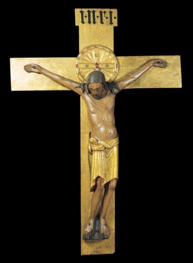 Crucifix commissioned by Archbishop Gero for Cologne Cathedral, Germany, ca. 970. Painted wood, height of figure 6 2.