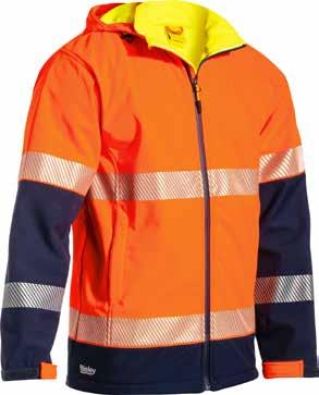 TAPED HI VIS SOFT SHELL JACKET Showerproof fabric with breathable membrane Waterproof Rating: up to