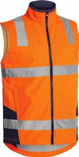 (BCPT) BV0348T TAPED HI VIS SOFT SHELL VEST Showerproof fabric with breathable membrane Waterproof