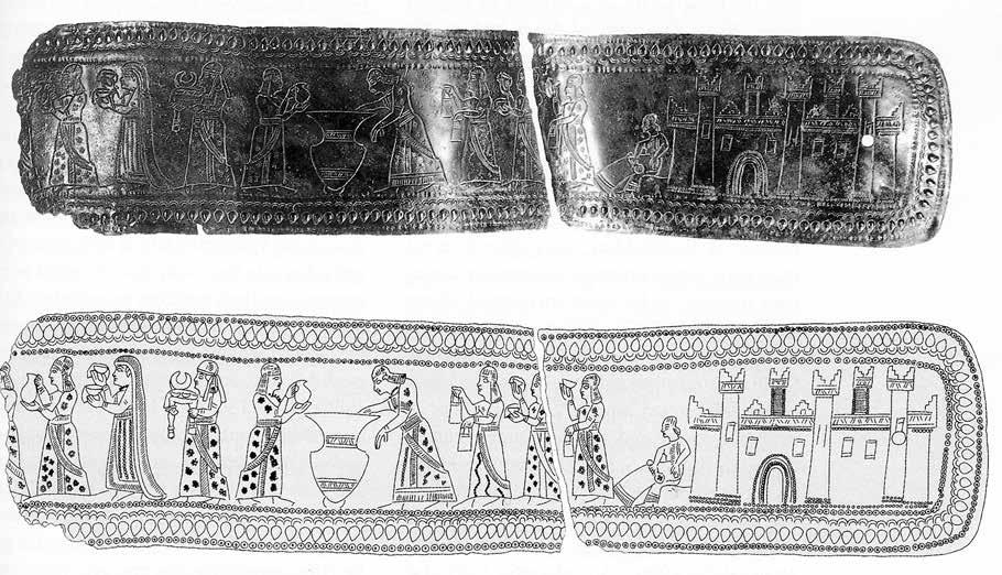 5. Elements for a Comparative Study of Textile Production and Use 119 Fig. 5.6: Urartian belt. Detail of attendants of the Queen (8th century BC). Ziffer 2002, fig. 4.