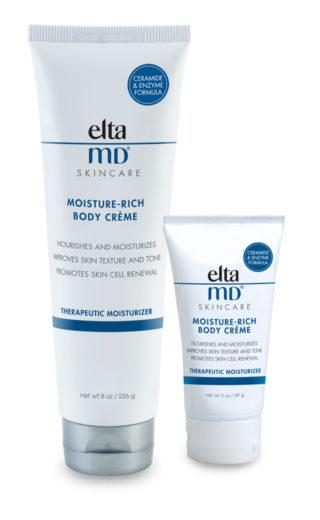 EltaMD Moisturizers and Cleansers: EltaMD Moisture-Rich Body Crème EltaMD Moisture-Rich Body Crème infuses compromised and dry, flaky, sensitive skin with long-lasting moisture and essential
