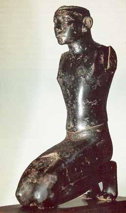 Fig. 7. Statuette of pharaoh Amenemhat III, found together with the crocodile of Fig. 6 in el Fayum, now in the collection Ortiz in Geneva. H.: 26.3 cm.