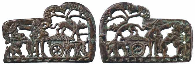 with passengers through a stand of trees, known in several examples, presents clear thematic parallels with the Sackler/Miami buckle plaque [Fig. 3].