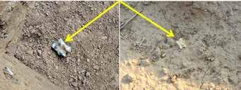 Fig. 4. Knucklebones in excavations of archaeological sites in Khorasan. Photos by authors. The astragali were found separately from other animal bone fragments in situ.