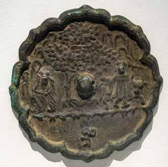 (right) Bronze mirror,